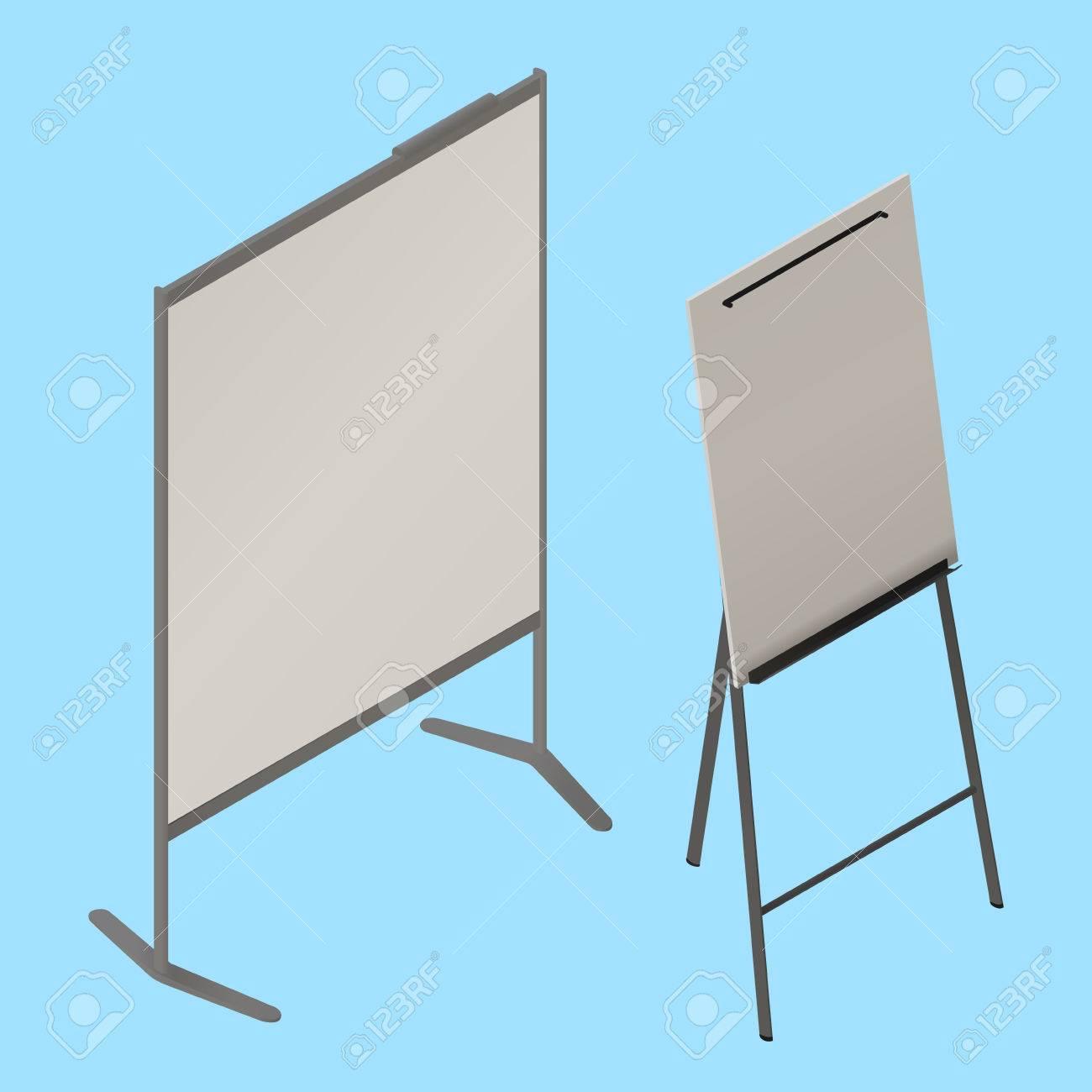 Flip Chart Vecteur Isometrique Tableau Blanc Chevalet Isometrique