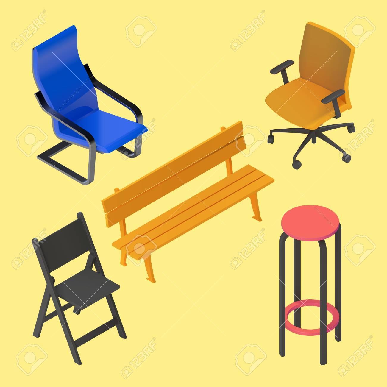 Silla, Sillón, Taburete, Banco, Muebles Vectorial Conjunto ...