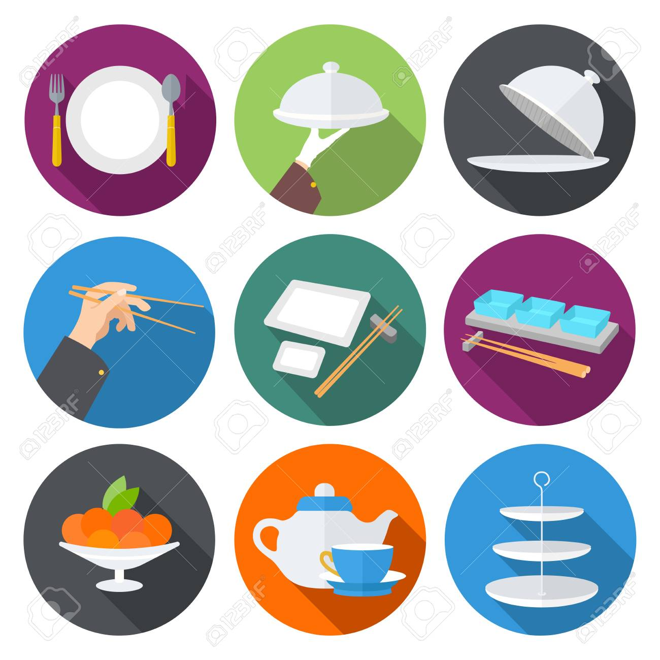 Set Flat Design Icons For Restaurant. Kitchen Utensils And Cookware ...