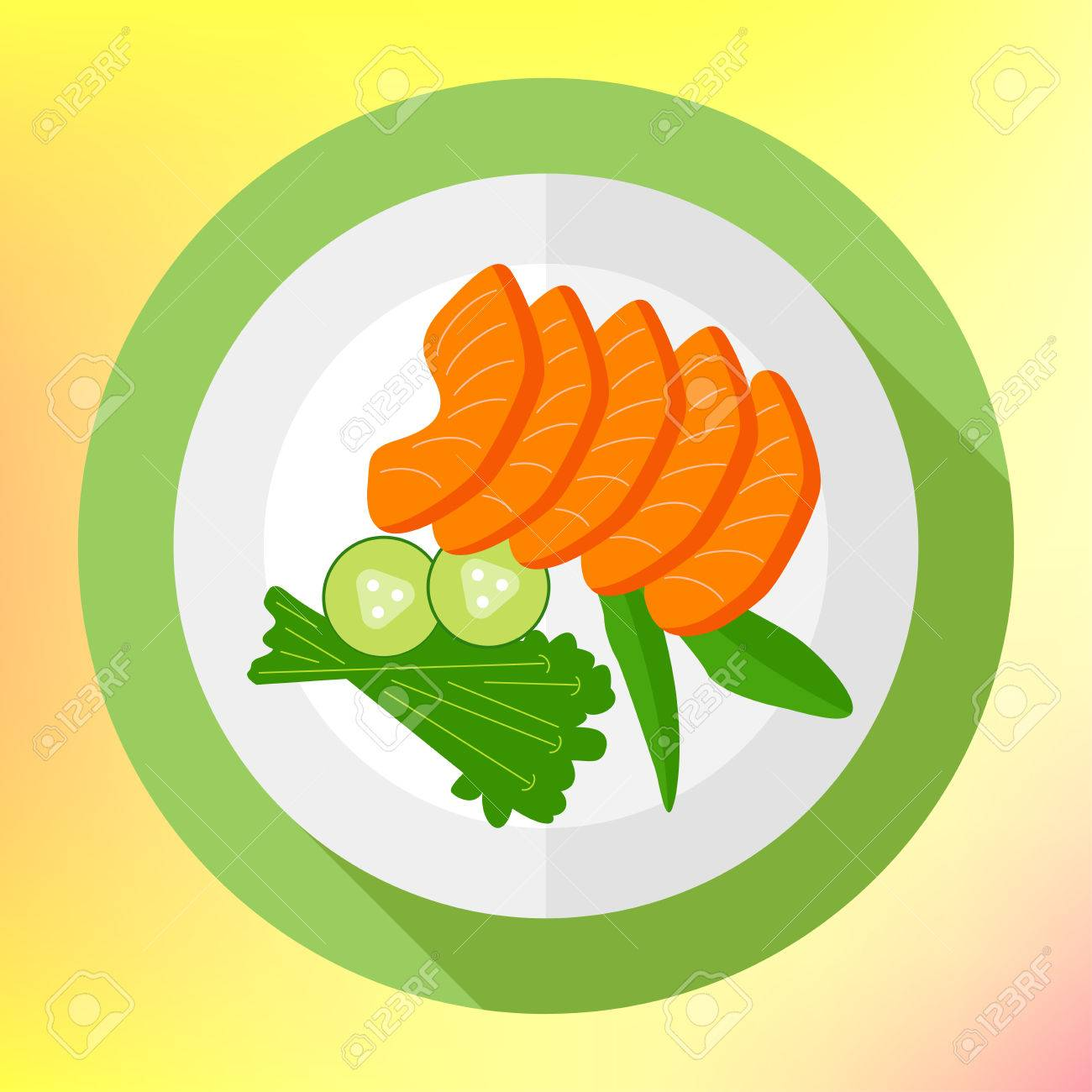 Sliced Salmon Pieces With Cucumber Flat Vector Icon. Healthy ...