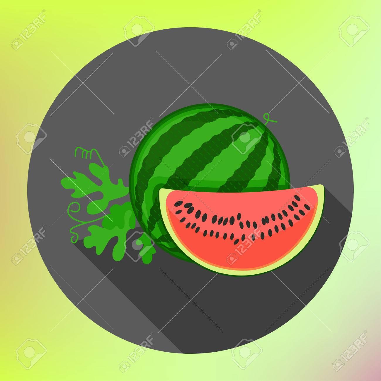 Geschnittene Wassermelone Flach Lange Schatten Stil Vektor-Symbol ...