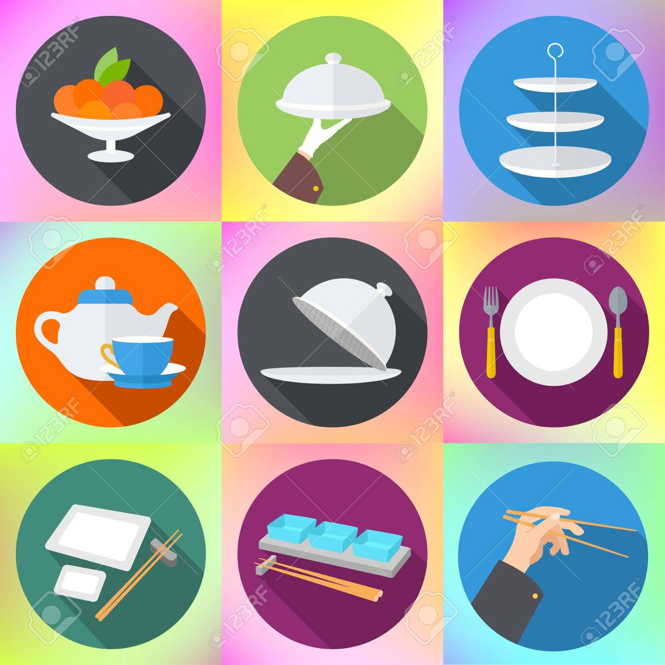 set flat design icons for restaurant. kitchen utensils and