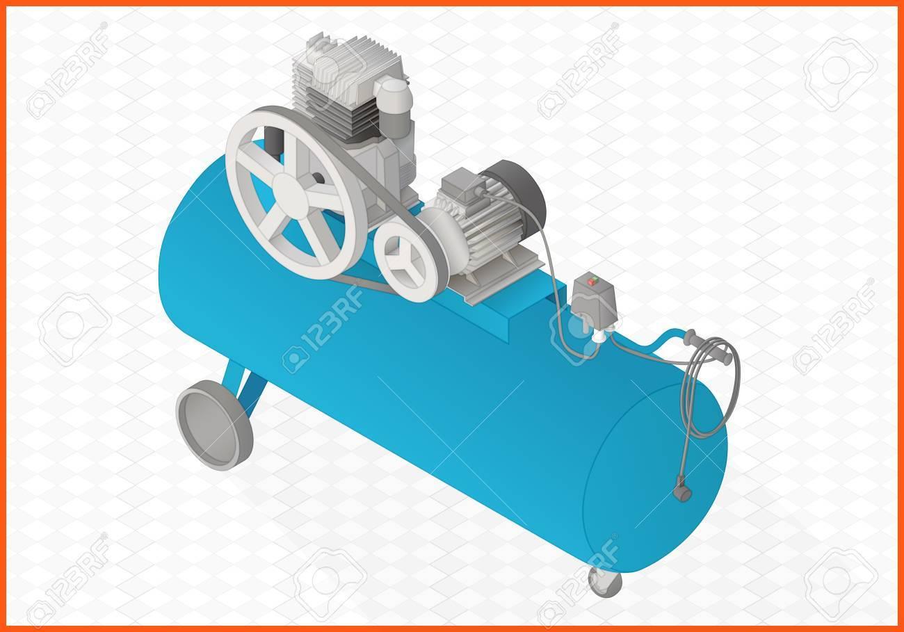 Pneumatic Compressor Isometric Perspective View Flat 3d Illustration