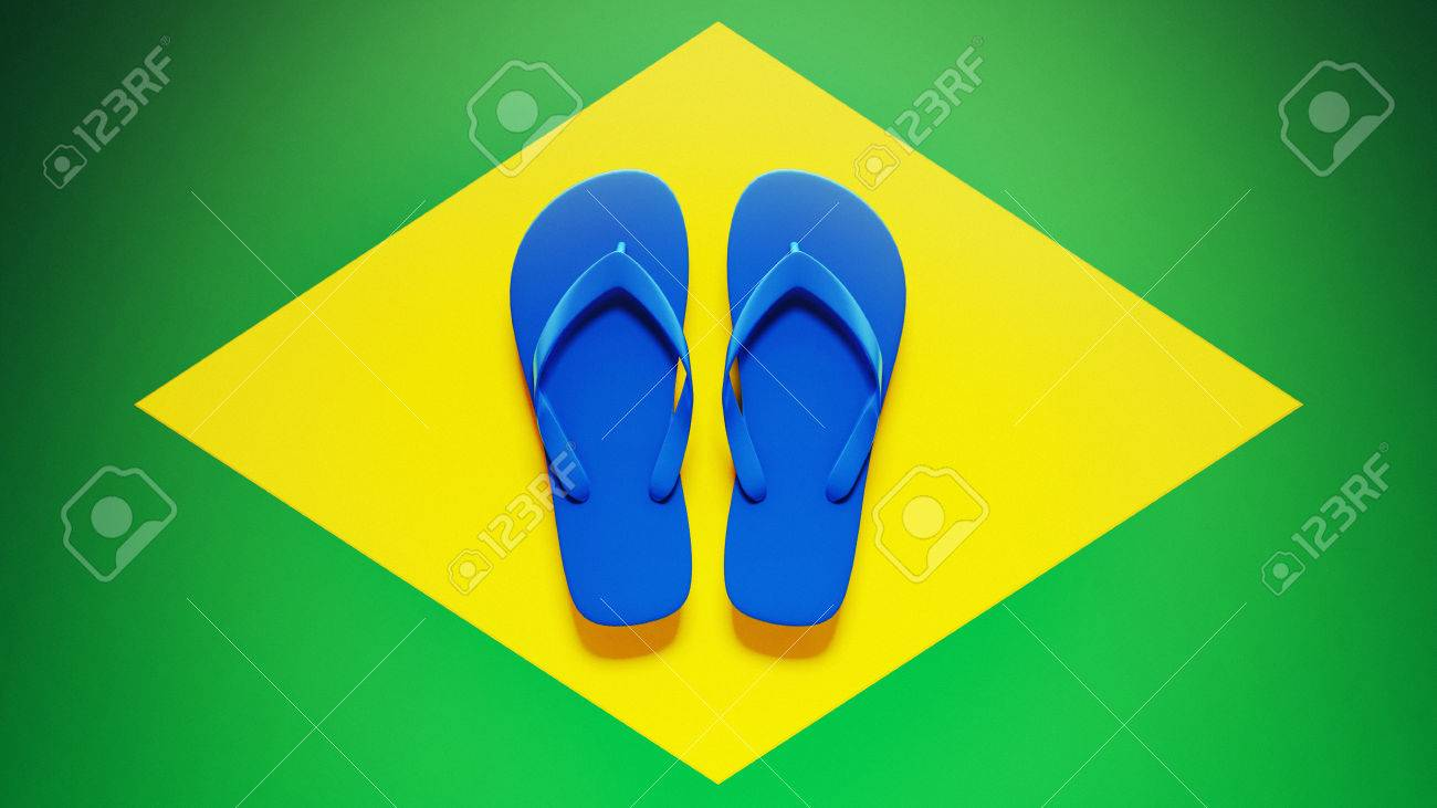 Flip Flops High Resolution Brazil Flag Stock Photo - 28430904