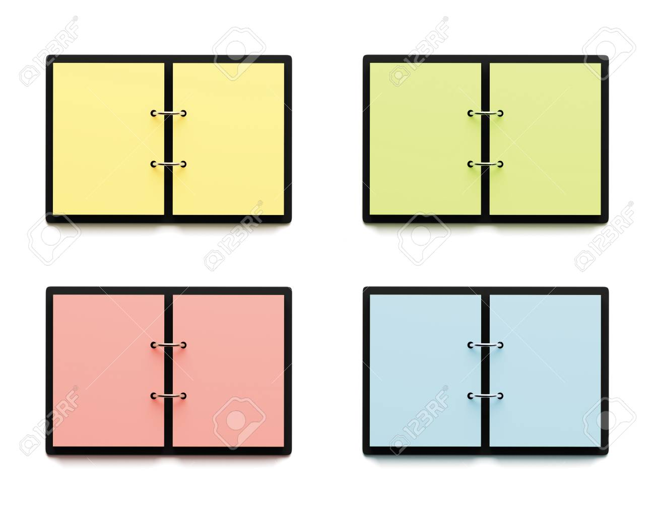 Agenda With Colorful Pages Isolated On White Background Stock Photo