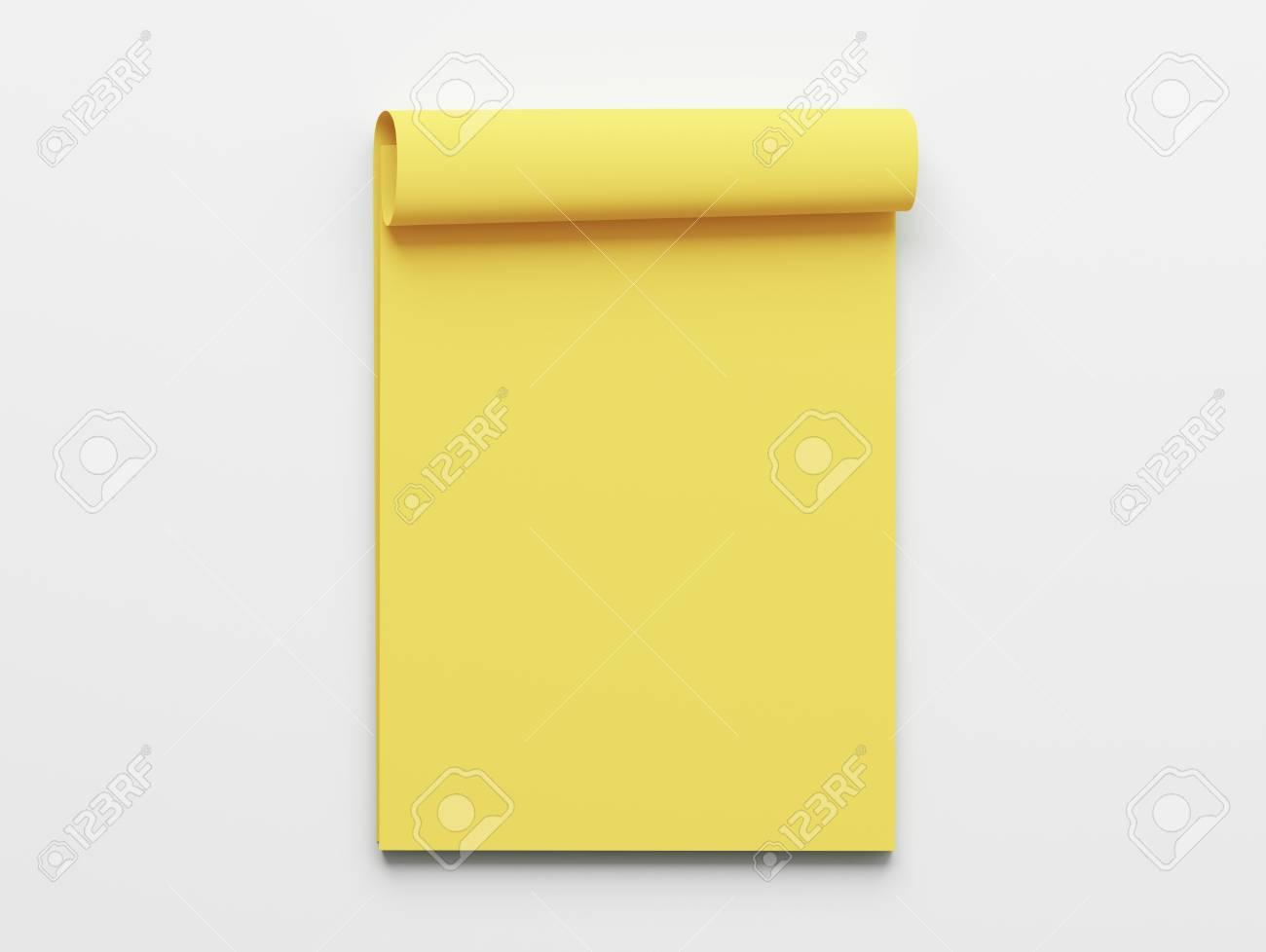 Livre Jaune Blanc Bloc Notes Isole Sur Fond Blanc
