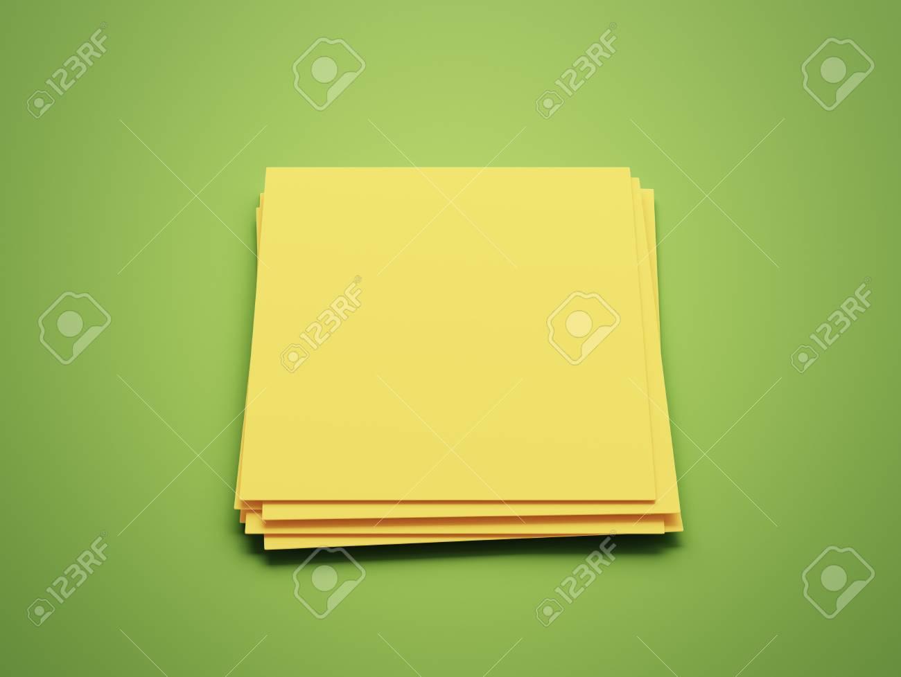 Livre Jaune Blanc Bloc Notes Isole Sur Fond Vert