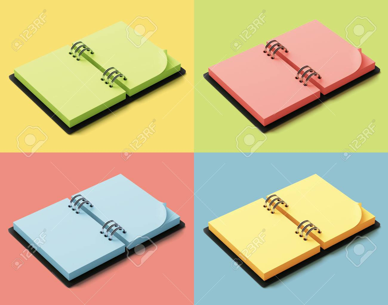 Agenda With Colorful Pages Isolated On Colorful Background Stock