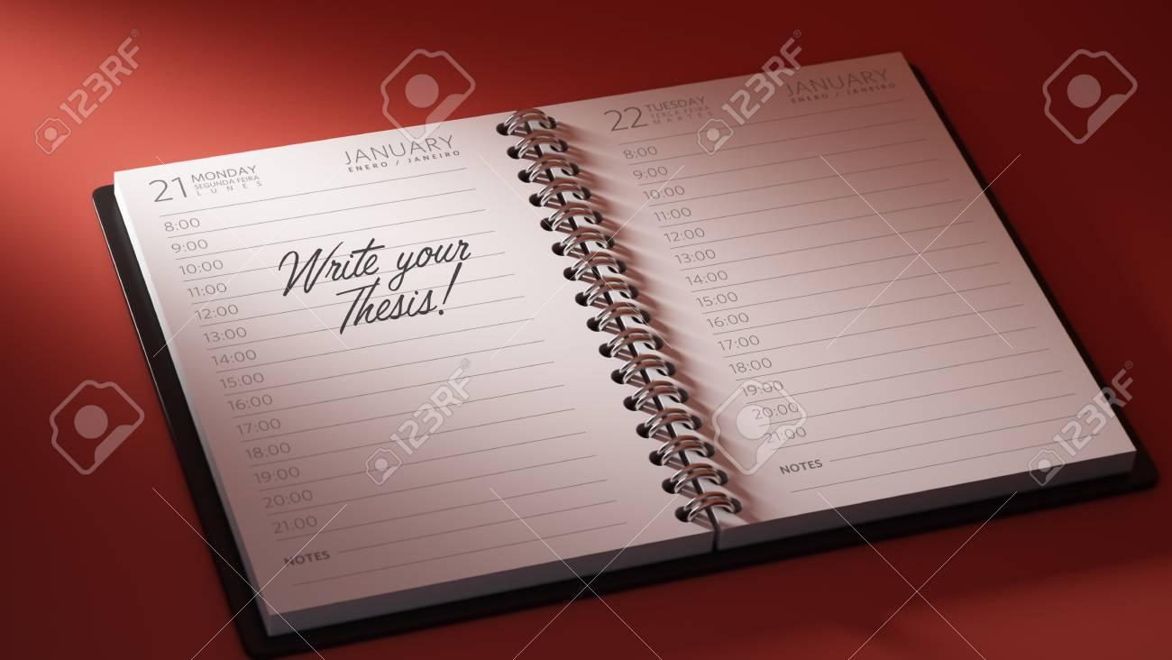 Calendario De Tesis.Primer Plano De Una Fijacion De Una Fecha Importante Que Representa El Calendario Calendario Personal Escribir Las Palabras De Su Tesis Escrita En