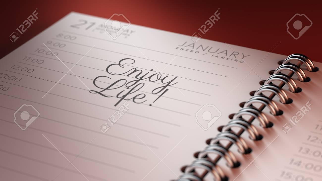 Imposta Calendario.Closeup Di Un Calendario Personale Che Imposta Una Data Importante Che Rappresenta Un Calendario Le Parole Enjoy Life Scritte Su Un Quaderno Bianco