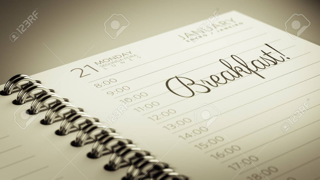 closeup of a personal calendar setting an important date