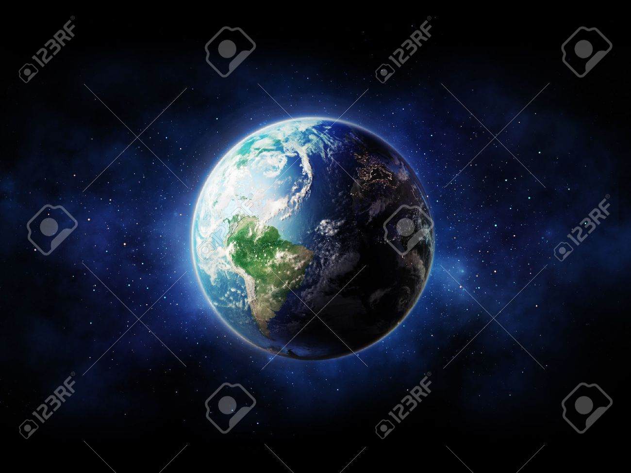 High Resolution Planet Earth view. The World Globe from Space in a star field showing the terrain and clouds. - 53663921