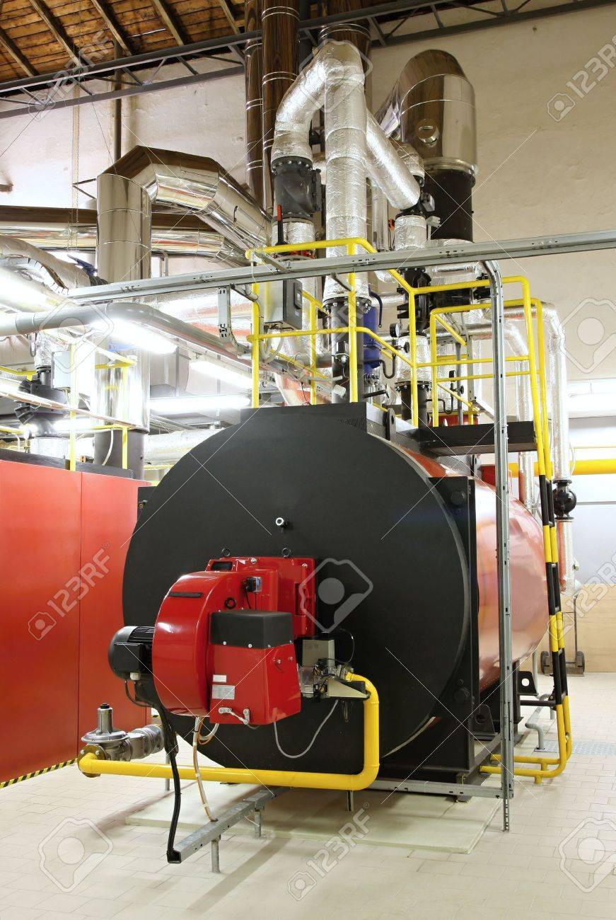 Gas boilers in gas boiler room for steam production Standard-Bild - 5826337