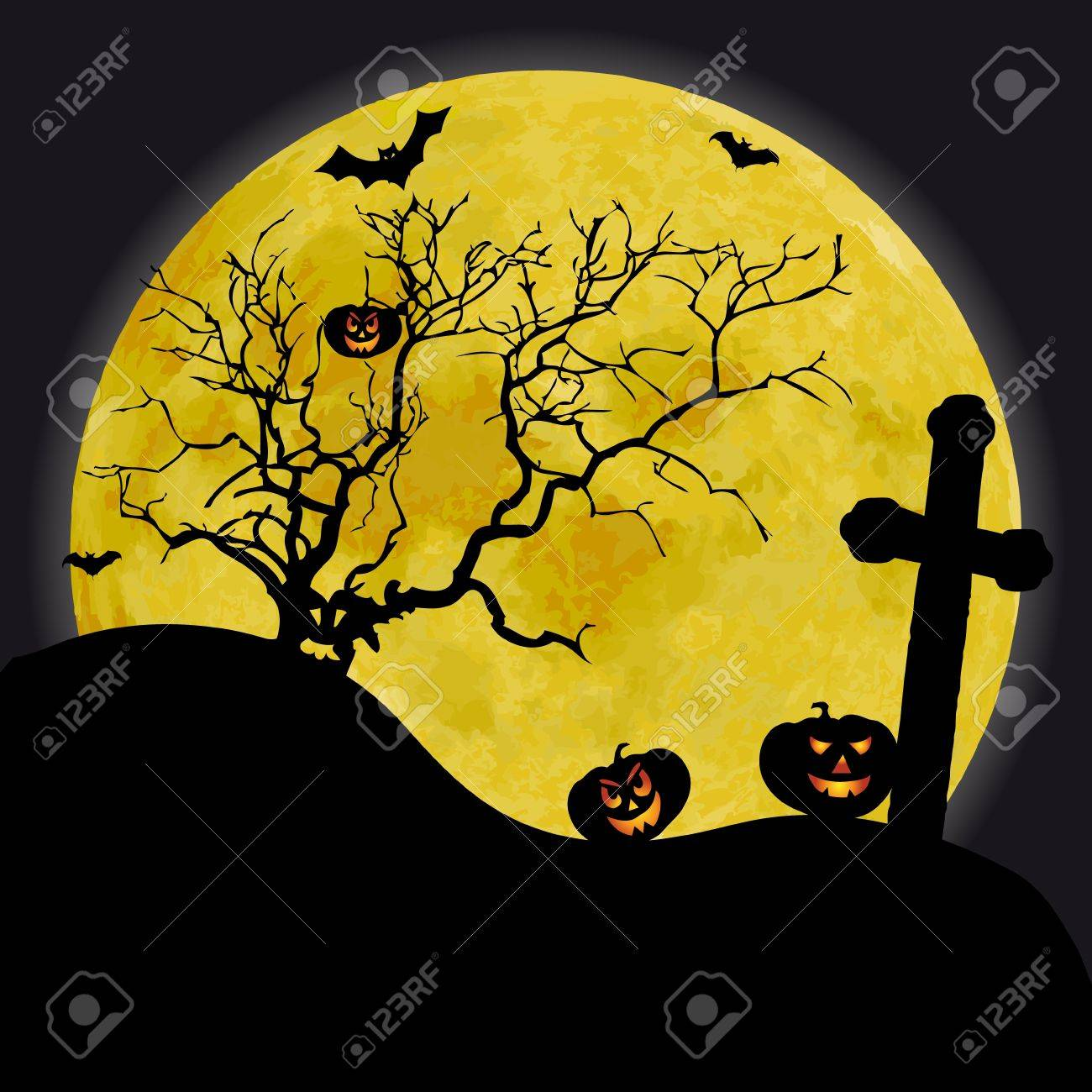 scary halloween background with yellow moon and old tree stock photo