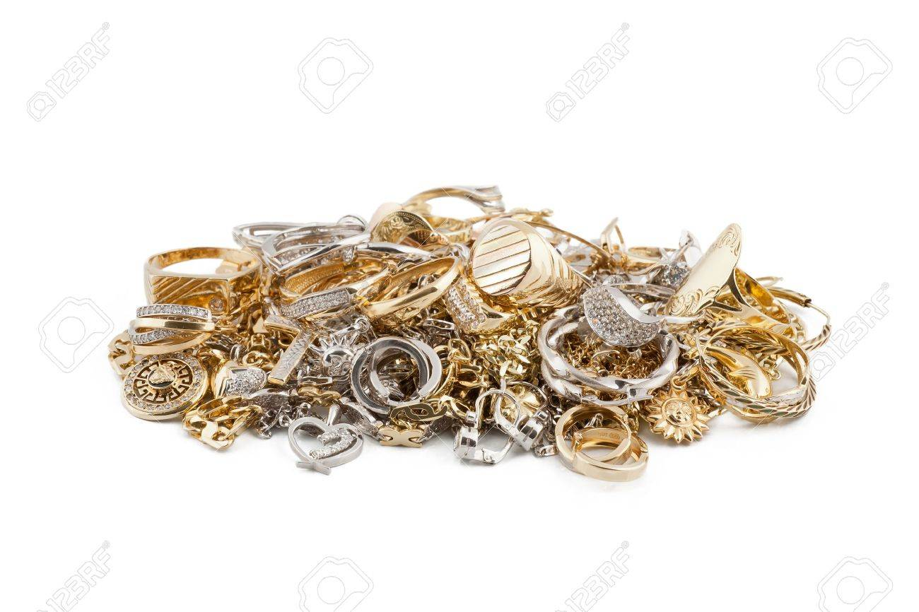Gold jewelry on a white background Stock Photo - 13223222