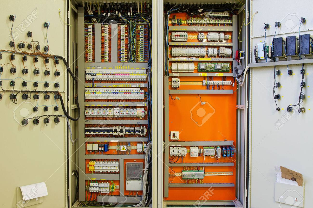 Electricity Distribution Box With Wires And Circuit Breakers Stock Fuse Breaker Photo 28140989
