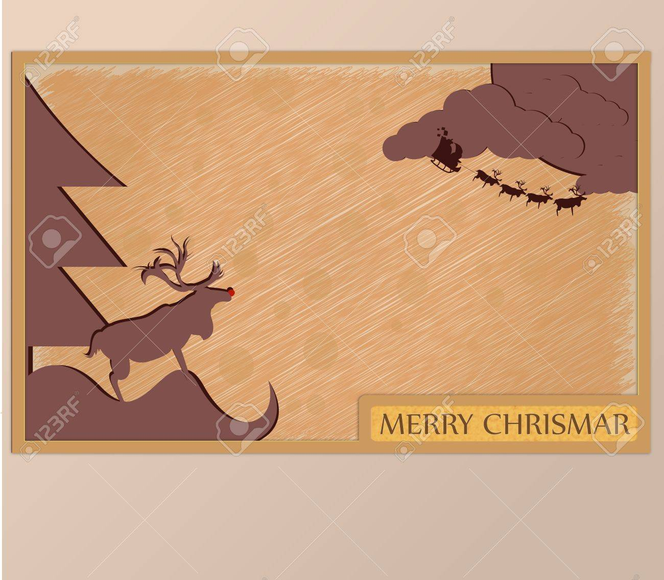 Christmas Card frame at night in Christmas day Stock Vector - 16850631