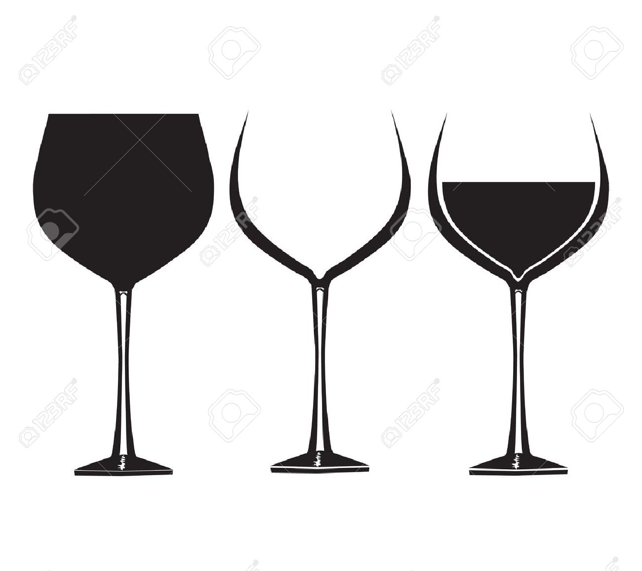 Wine glasses in graphic for use in party or restaurant artwork - 17012164