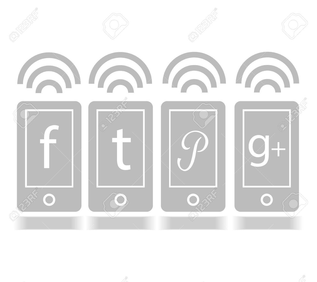 Social Media icon mobile online graphic - 17997645