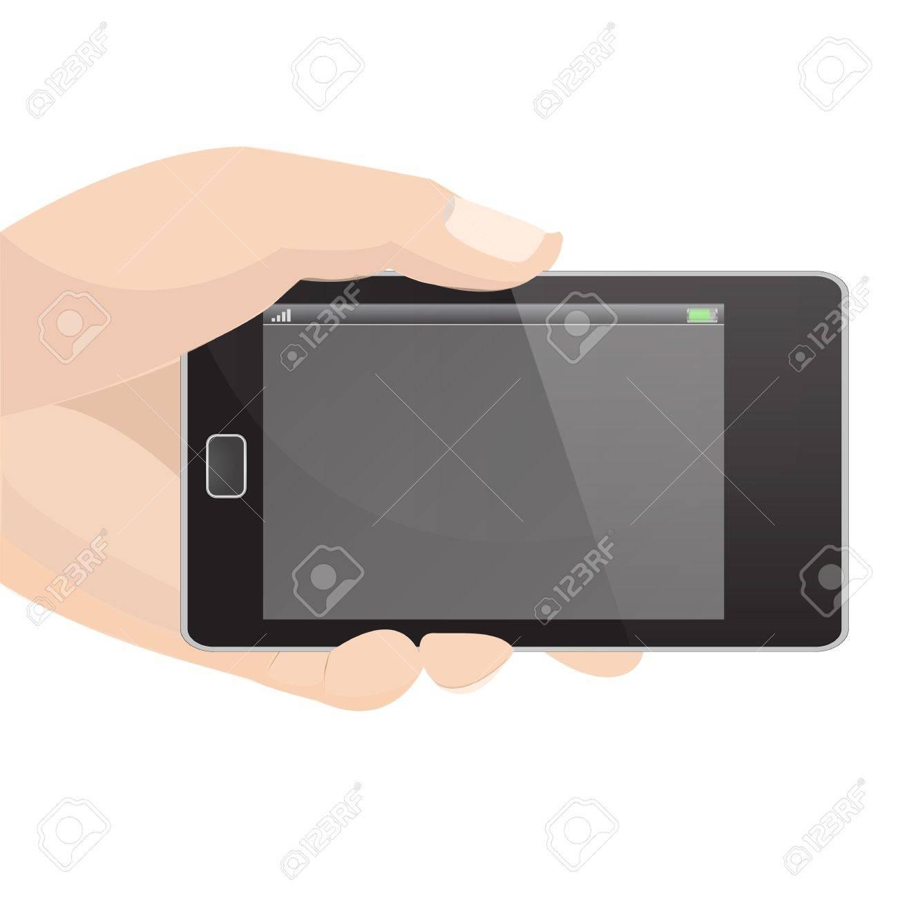 Horizontal Smart Phone Vector in hand holding graphic vector eps10 Stock Vector - 18496142
