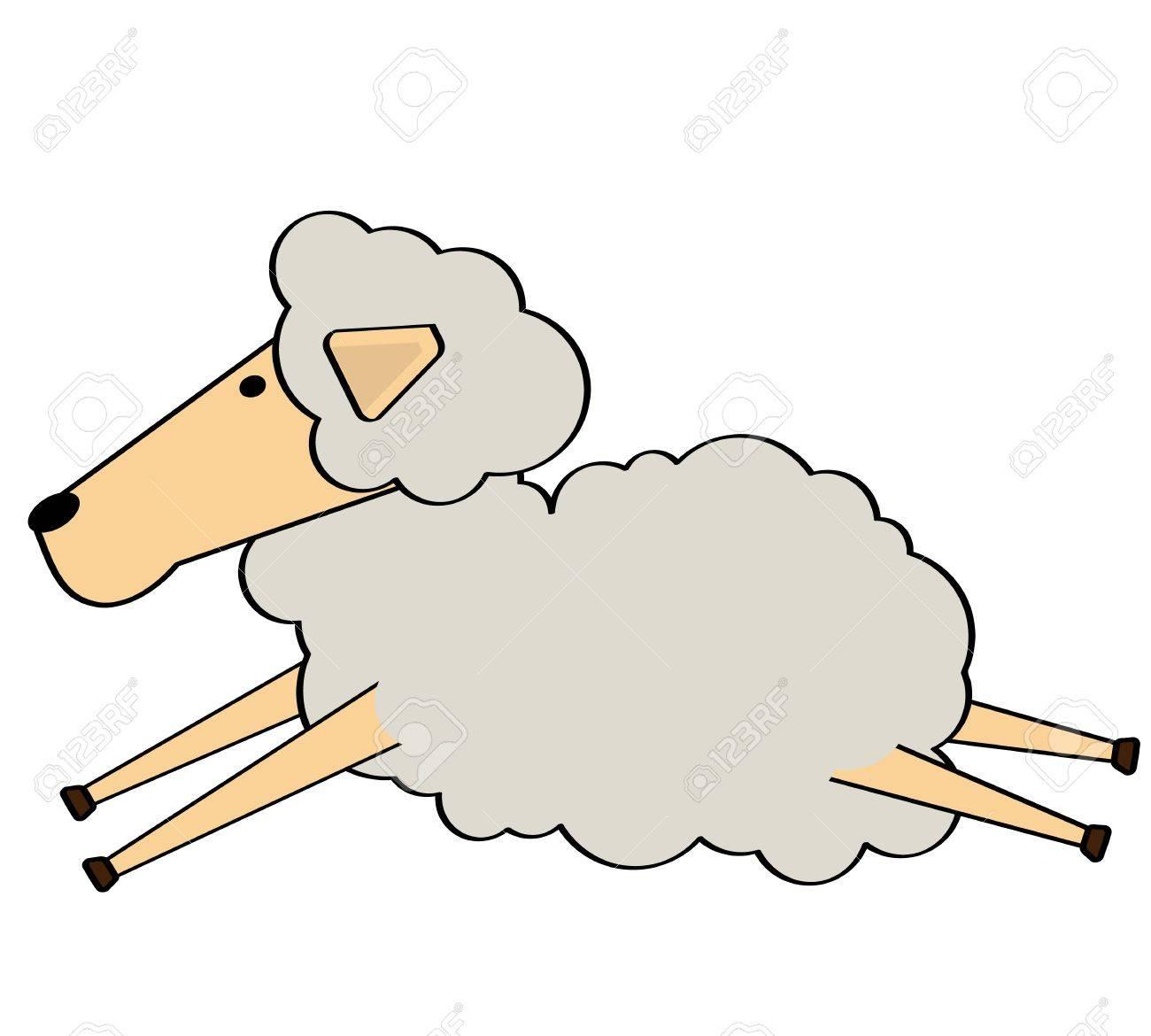 Sheep jump cartoon.Character design Stock Vector - 18542449