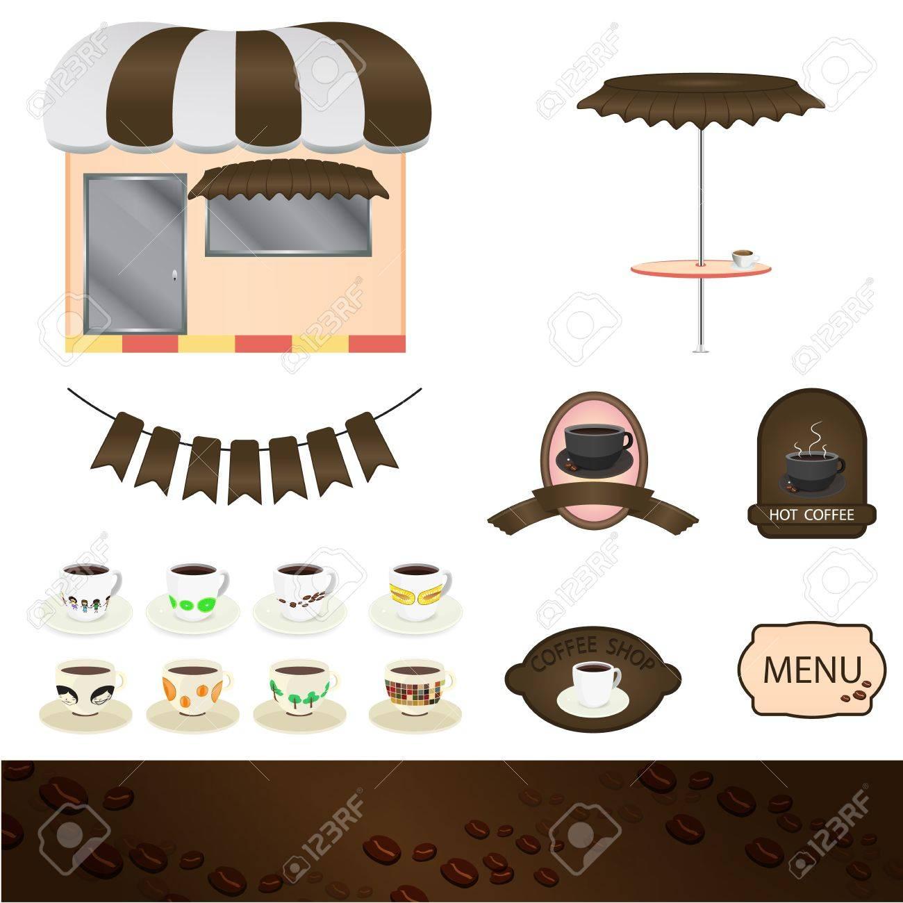 Coffee shop set graphic Stock Vector - 19011692