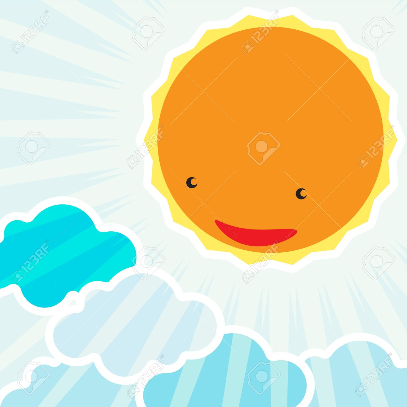 Sunrise In The Morning Background Cartoon Character For Kids Stock Vector 19079742