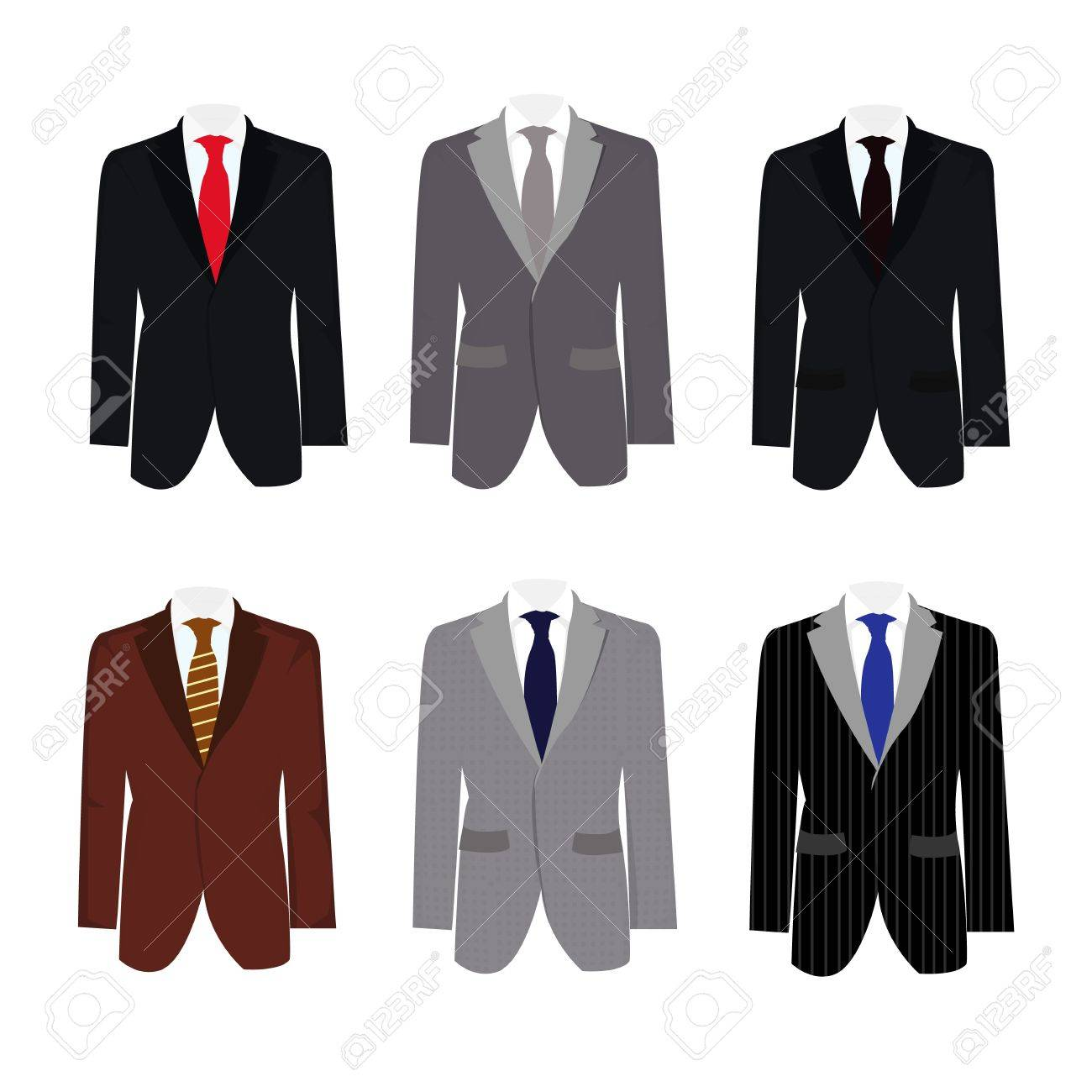 set of 6 illustration handsome business suit graphic