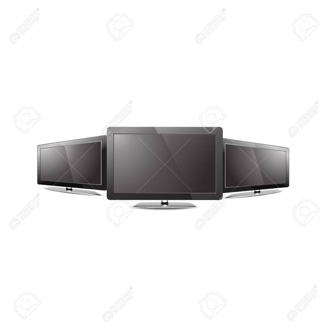 Three Led tv monitor black screen showcase graphic Stock Vector - 20989273