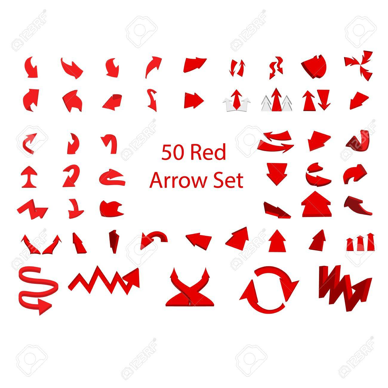 50 set of red arrows graphic Stock Vector - 21637888