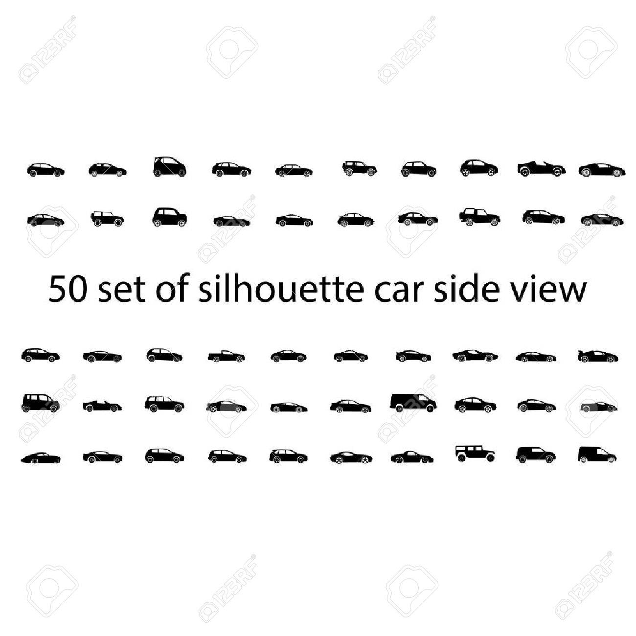 Black silhouette car side view isolated graphic vector - 21655493