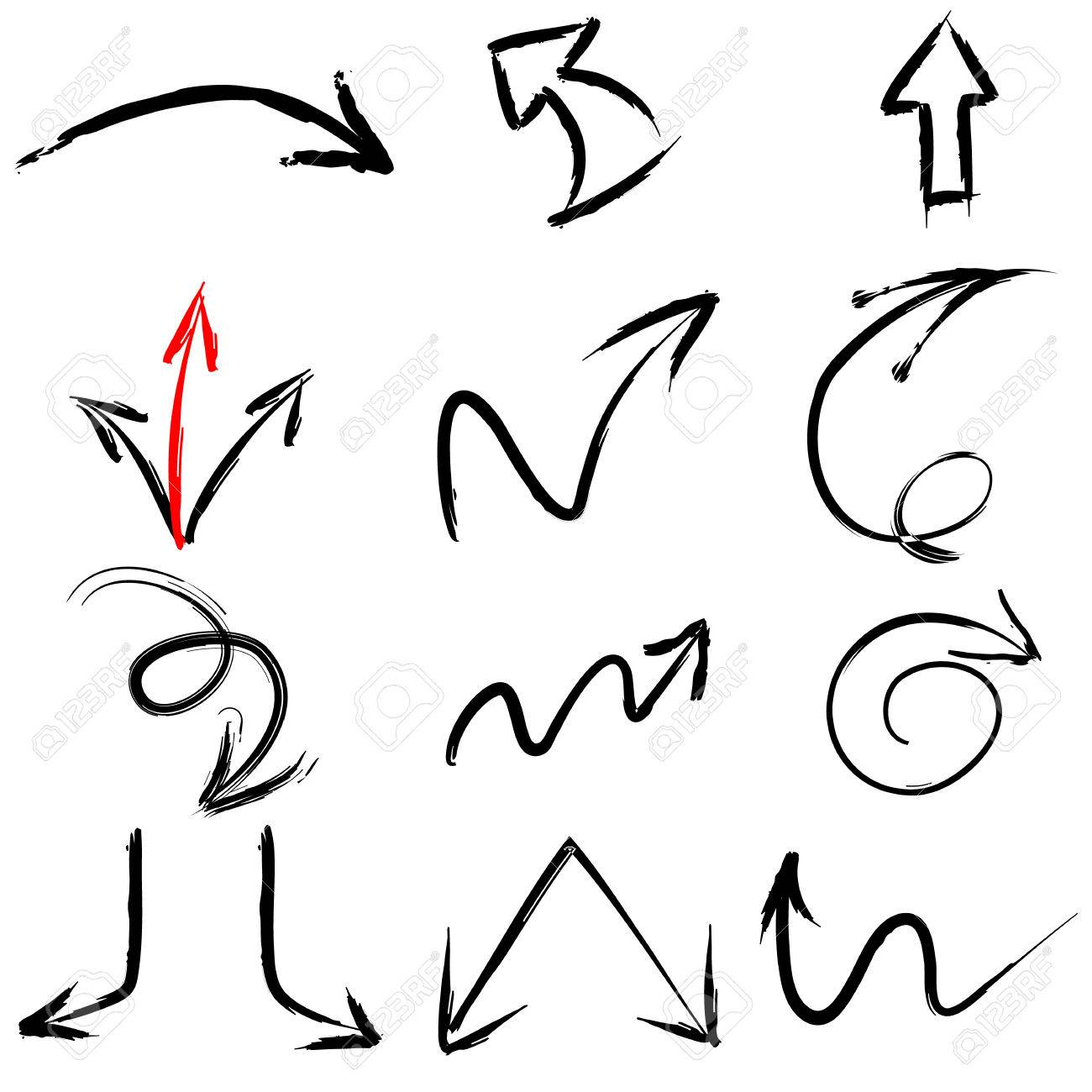 A collection of black grungy vector abstract hand-painted brush and stroke arrows - 22858943