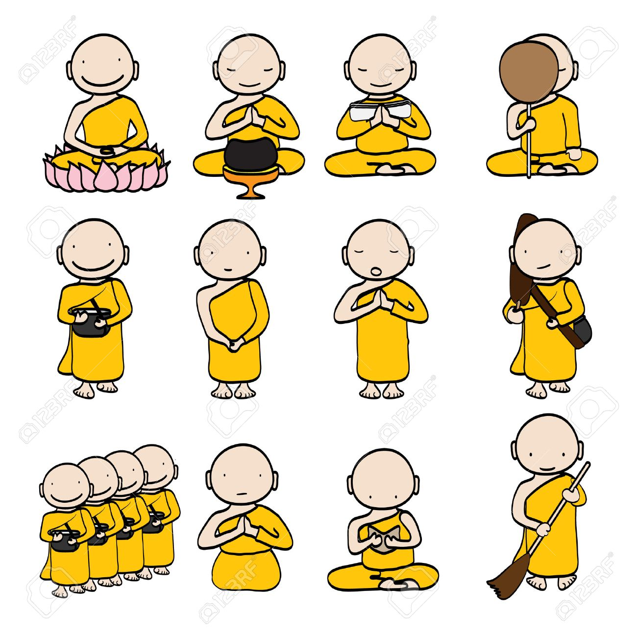 illustration of Cute young monk cartoon - 24894341