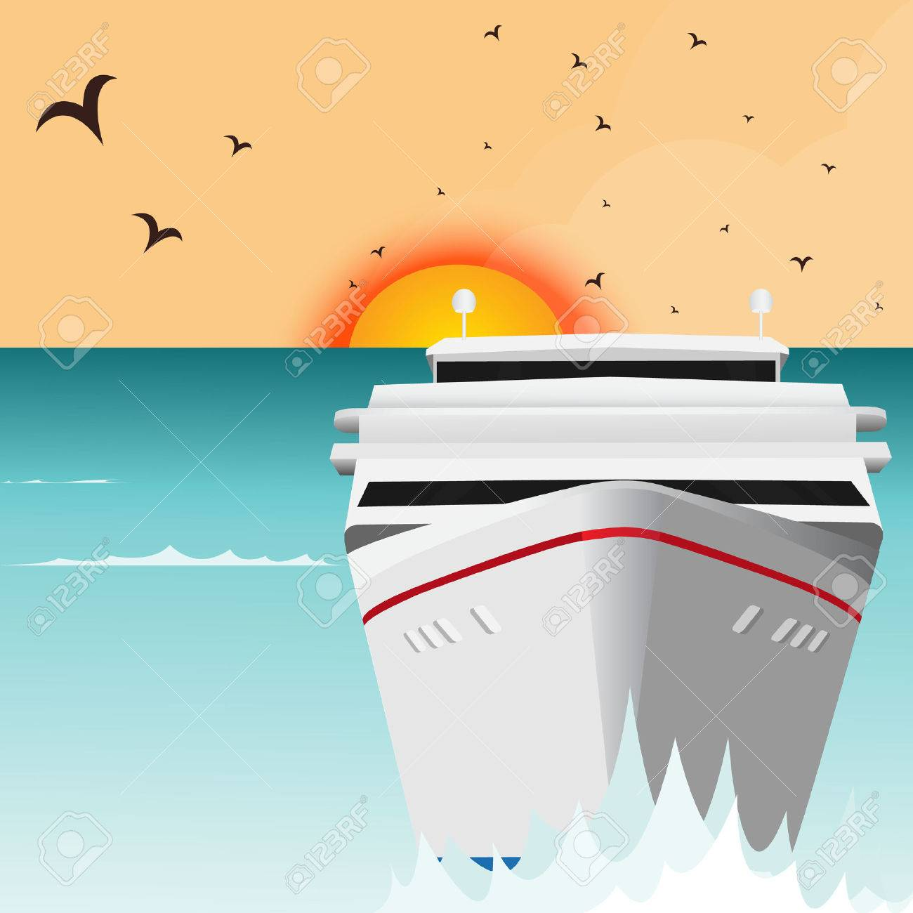 Luxury cruise ship sailing from port on sunrise - 36925691