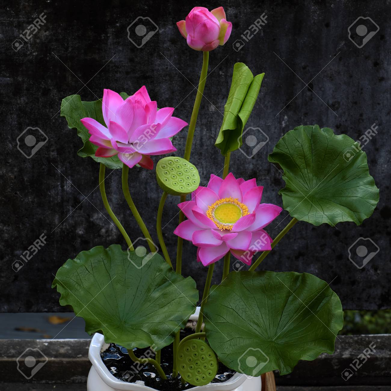 Artificial Flower Handmade Clay Lotus Flower With Green Leaf