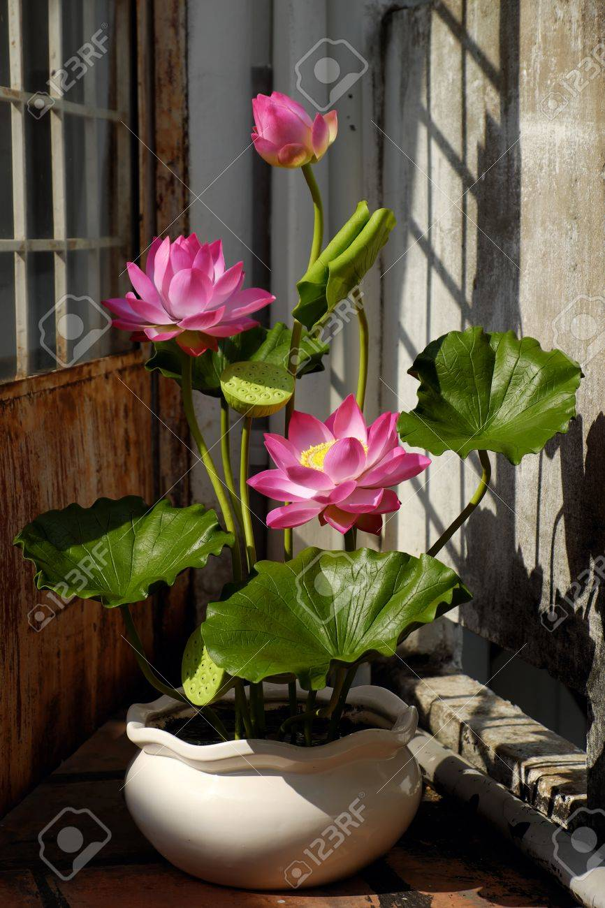 Artificial Flower Handmade Lotus Flower With Green Leaf And Stock