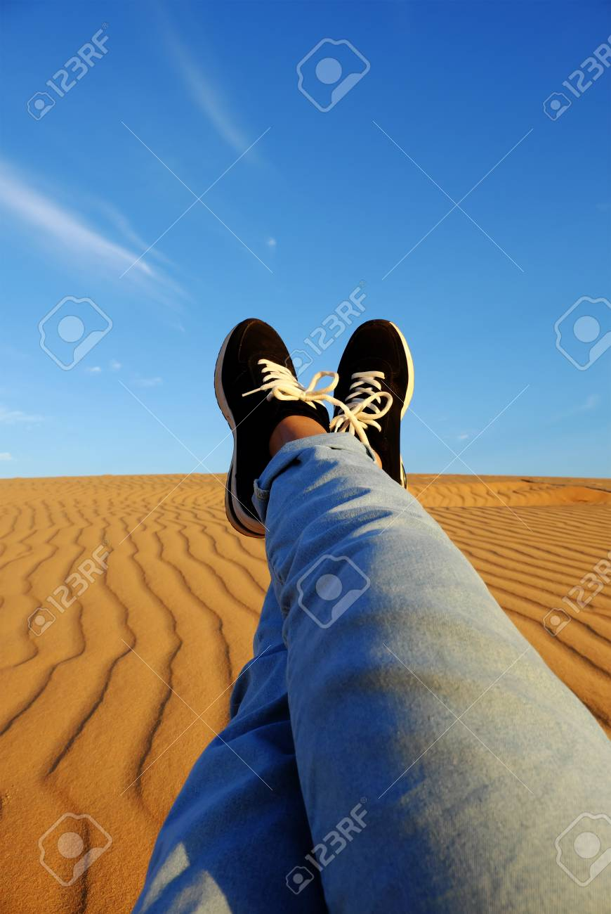 ... People Relax On Orange Sandy Under Blue Sky At Mui Ne, Phan Thiet,  Vietnam, Summer Is Coming And A Trip To Adventure Make Awesome Life