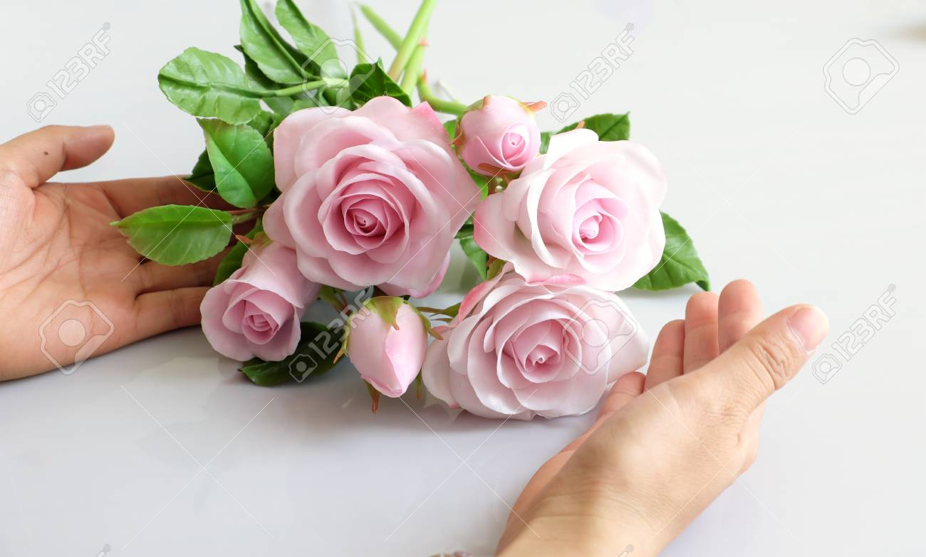 Wonderful Clay Art, Woman Hand Hold Bouquet Of Roses Flower In ...