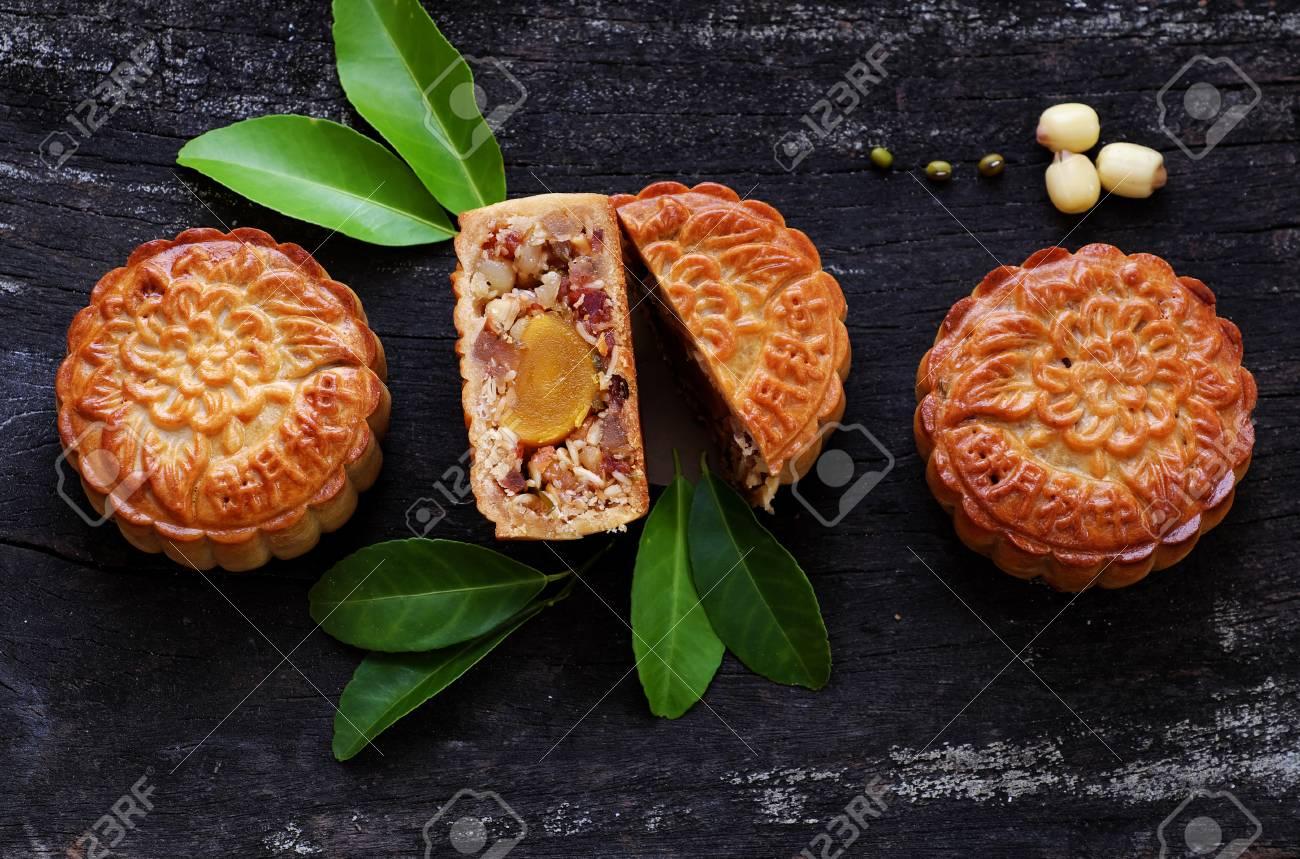 Vietnamese sweet food for mid autumn festival when full moon,