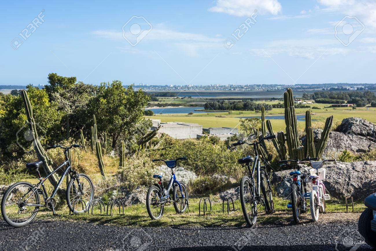 Punta del Este, Uruguay - April 1, 2017: Panoramic view of Punta del Este resort town from El Fasano, Las Piedras, Uruguay atlantic coast, Maldonado province - 82909741