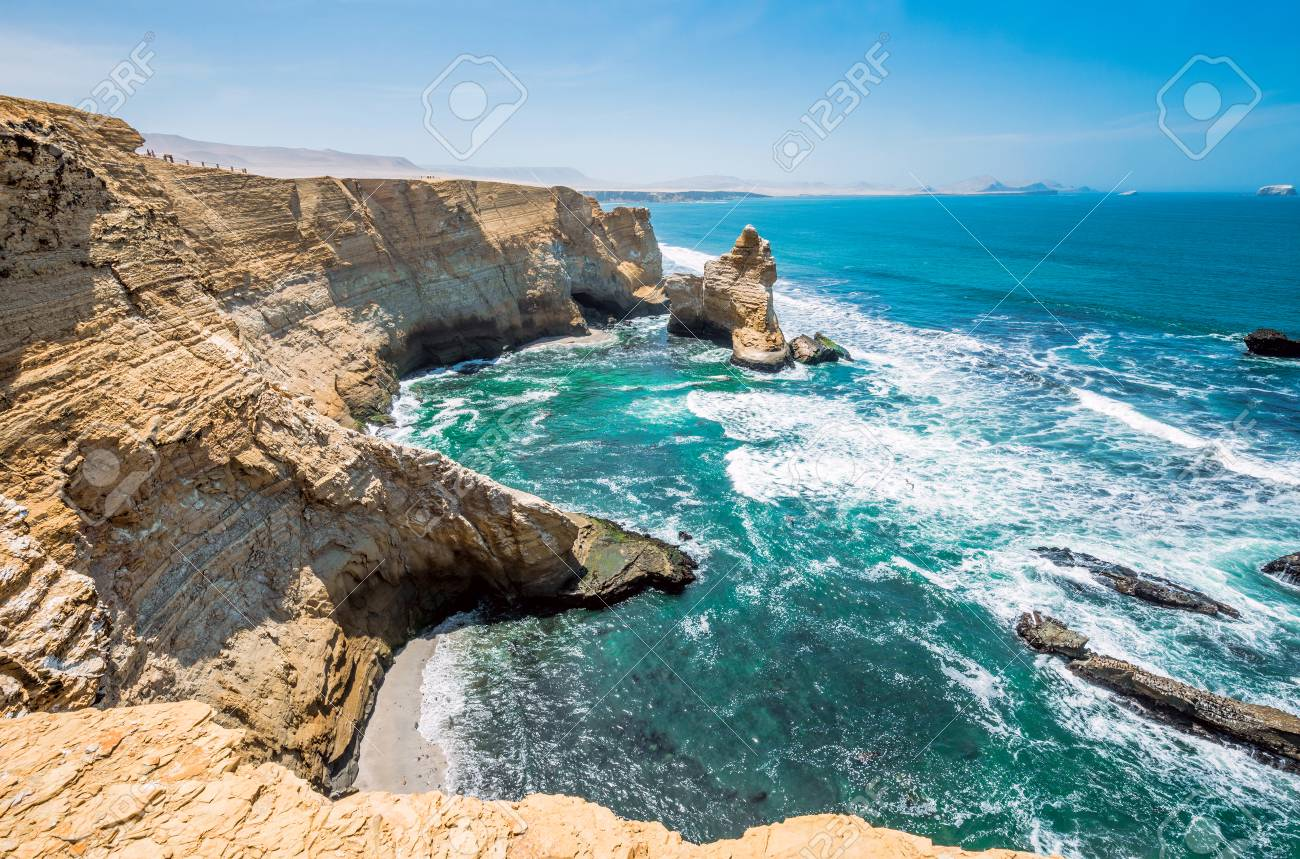 Cathedral Rock Formation, Peruvian Coastline, Rock formations at the coast, Paracas National Reserve, Paracas, Ica Region, Peru - 83604131