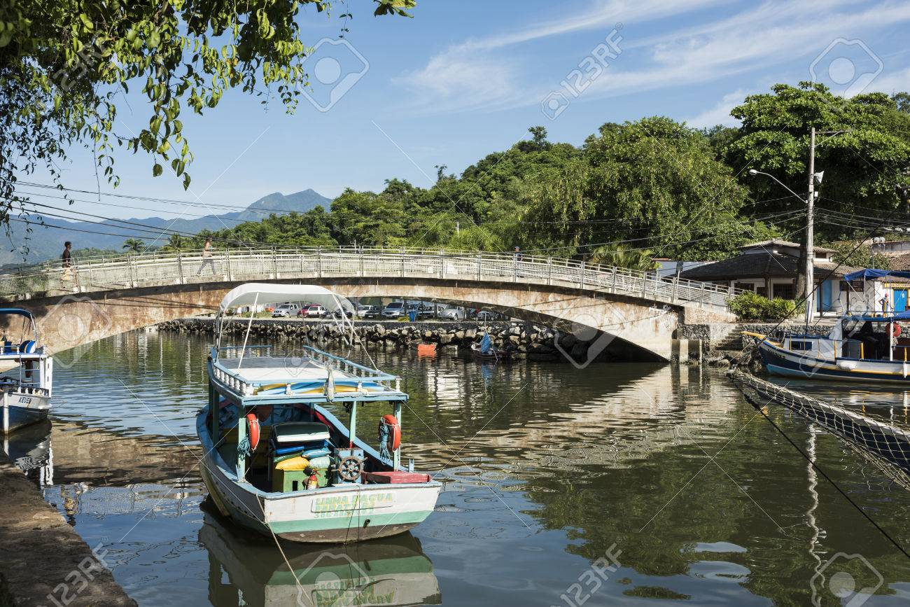 Paraty, Brazil - February 24, 2017: An iconic view of the canal and the colonial houses of the historic town Paraty, Rio de Janeiro state, Brazil - 84764970
