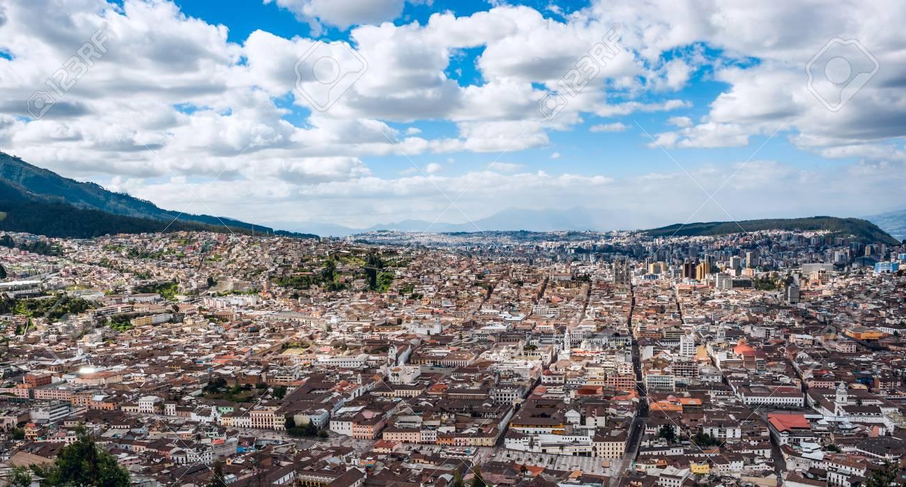 Panoramic photo of Quito capital city at sunset, Ecuador, South America - 88690126