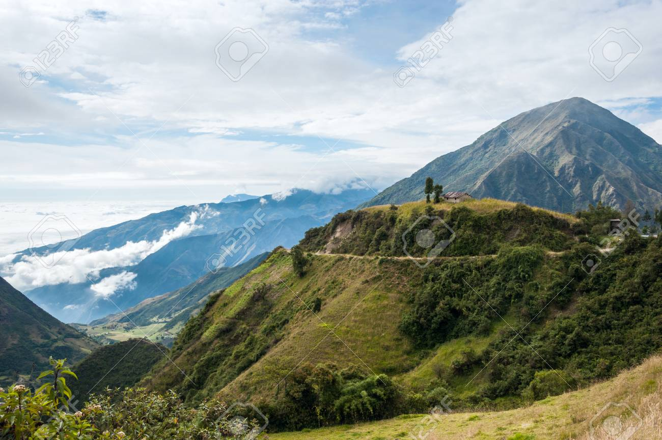 On the road through the Andes. The photo is taken near small town Alausi in Ecuador - 90155503