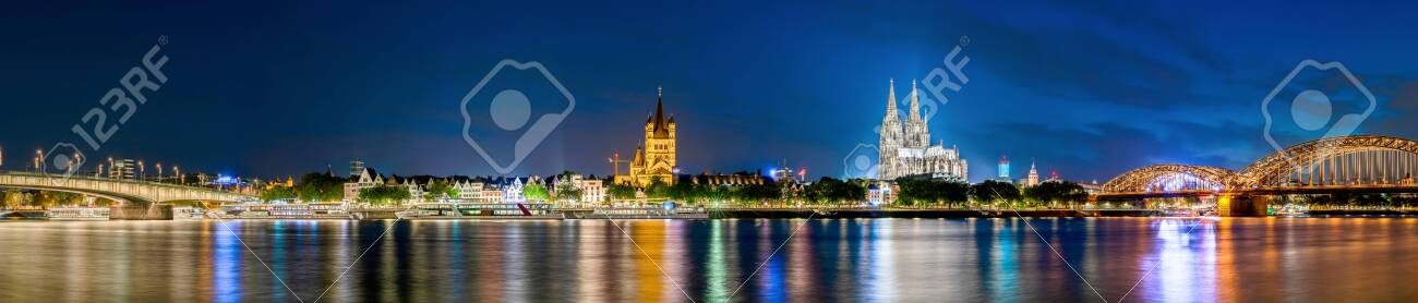 Panorama of Cologne with Cologne Cathedral, Rhine and Hohenzollern Bridge at night - 140768543