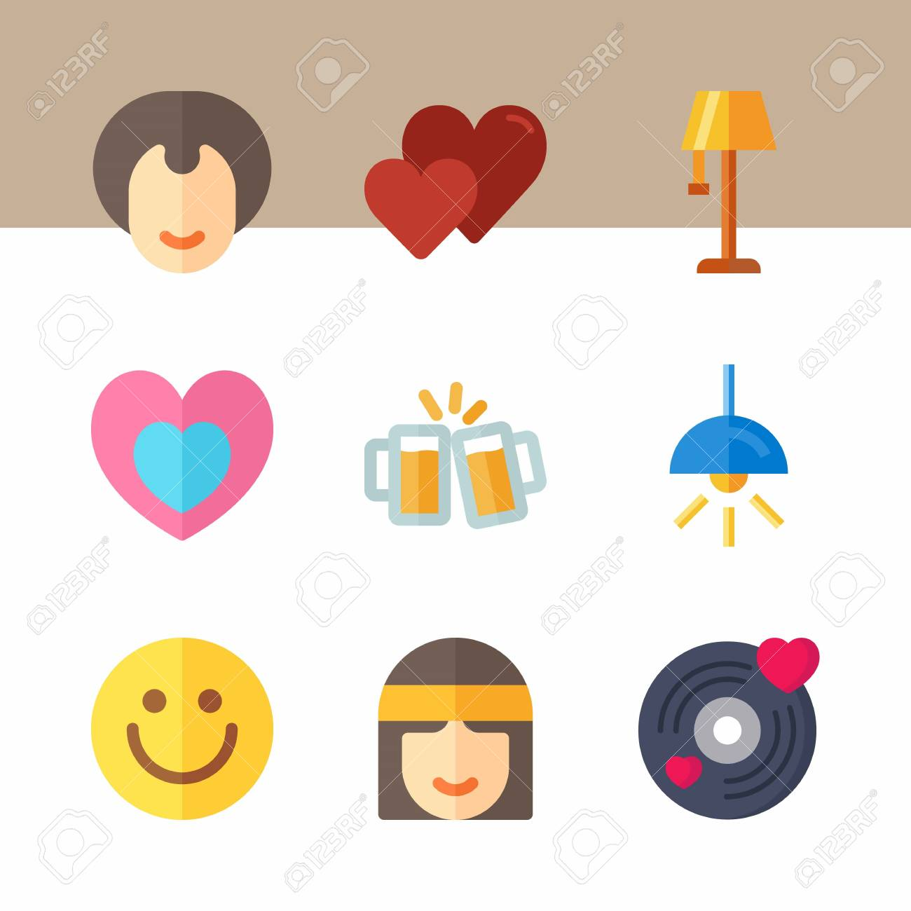 icon set about hippies with beer, hippie and emoji