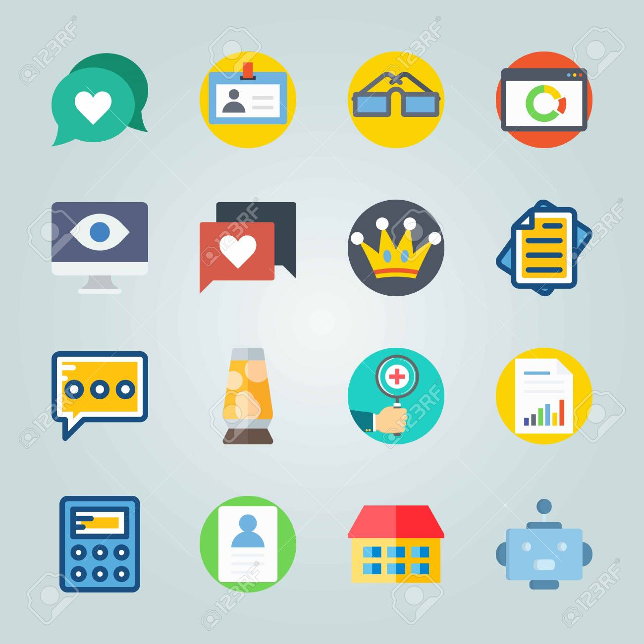 Icon set about Digital Marketing  with search engine, house and