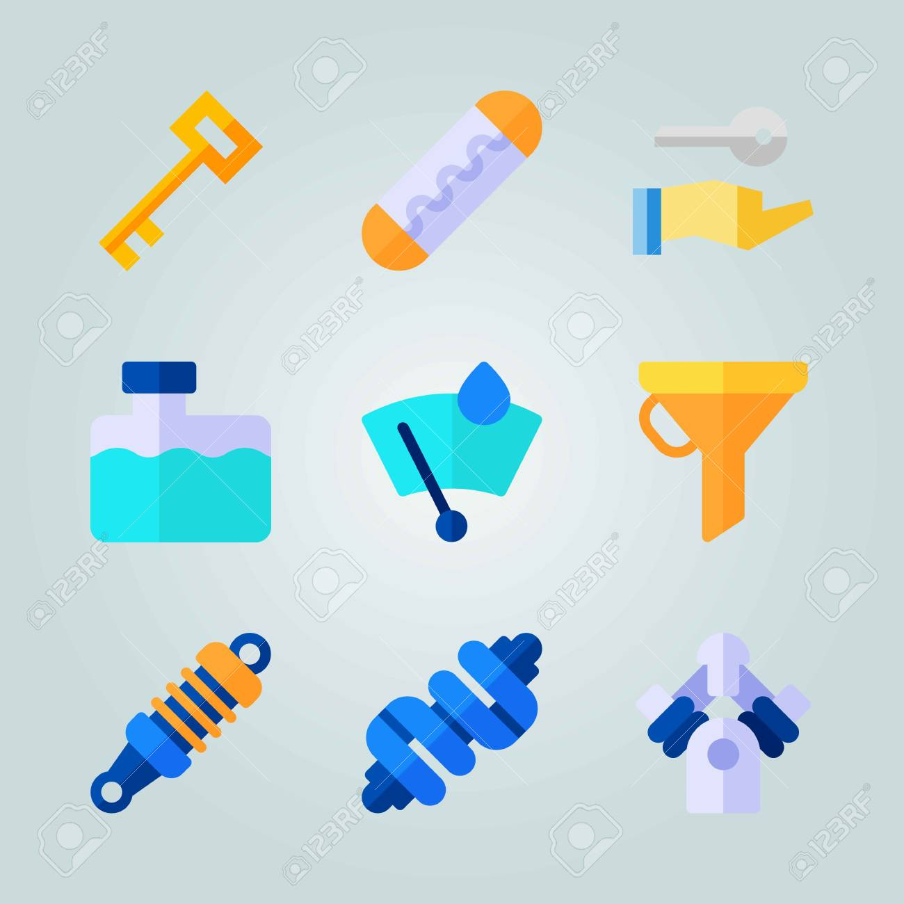 icon set about car engine with water box, windshield and crankshaft stock  vector - 94709905