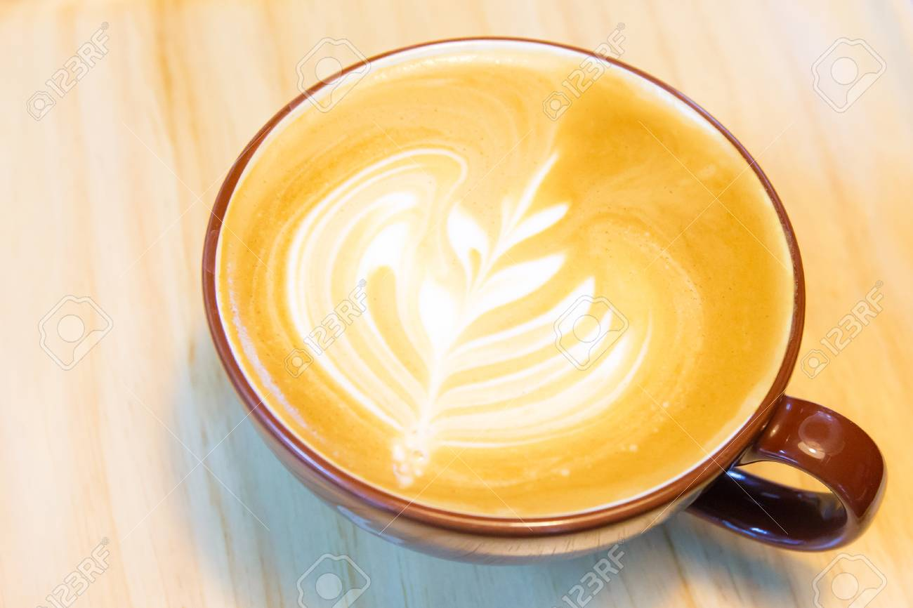 Soft Focused To Hot Milk Latte Coffee Art In Glass On The Wooden Stock Photo Picture And Royalty Free Image Image 102165385