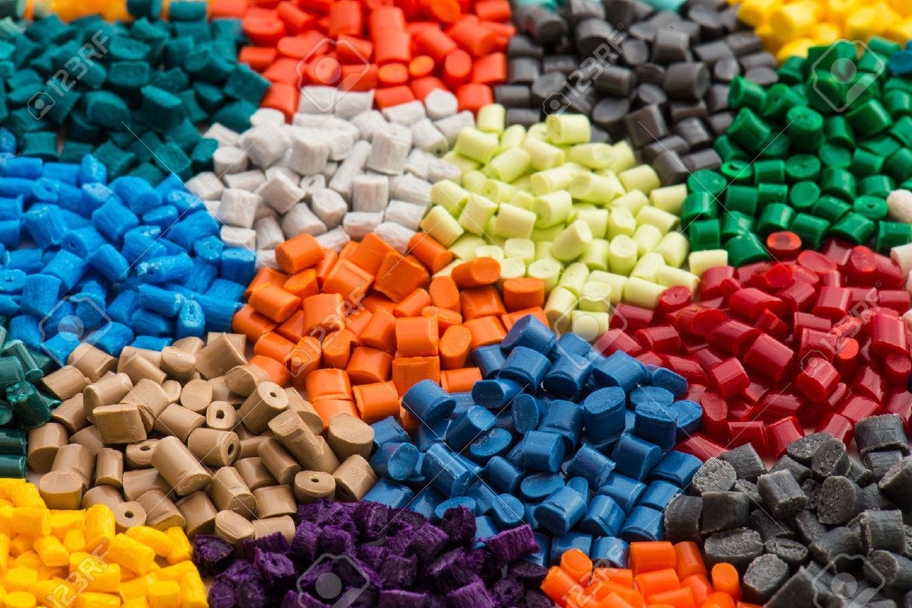 lot of dyed polymer resins in laboratory stock photo picture and